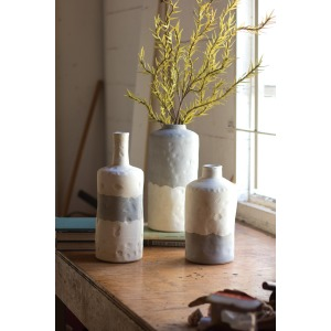 Ceramic Bottle Vases - Matte Grey & Cream