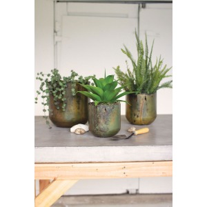 Rustic Verdigris Iron Planters - Set of 3