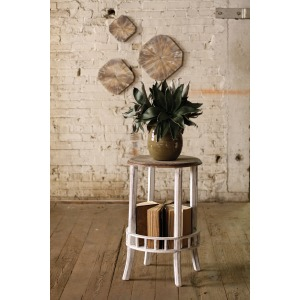 ROUND WHITEWASHED SIDE TABLE WITH DISTRESSED WOODEN TOP