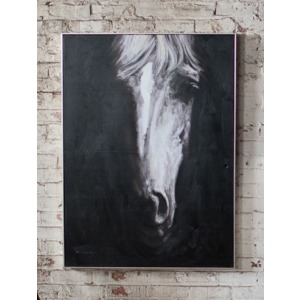 Oil Painting  Black & White Front View Horse w/Silver Frame