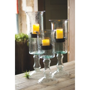 GLASS CANDLE CYLINDER WITH METAL INSERT AND GLASS BASE - LARGE