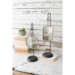 Table Top Metal Mirrors - Set of 2