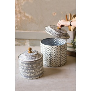 Pressed Tin Canisters - Set of 2