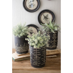 Black and White Clay Planters - Set of 3