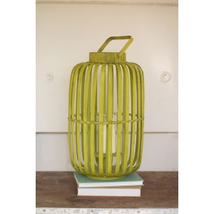 Bamboo Lantern with Glass Insert - LIME