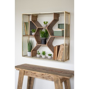 WOODEN HONEY COMB SHELF WITH ANTIQUE BRASS FINISH METAL MESH FRAME