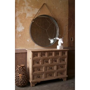 Round Mirror with Metal Frame and Rope Accent