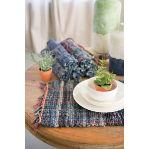 SET OF SIX WOVEN DENIM FABRIC PLACEMATS