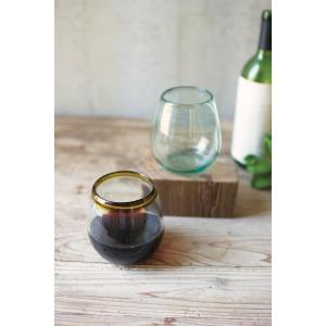 Stemless Wine Glass w/Amber Rim