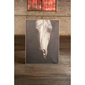 OIL PAINTING - BLACK AND WHITE FRONT VIEW HORSE WITH SILVER FRAME