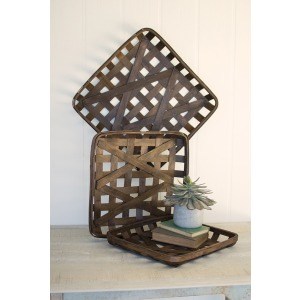 Square Woven Split Wood Basket - Medium