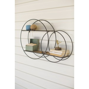 Metal Double Circle Wall Unit With Wood Shelves