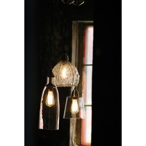 Glass Pendant Lamp with Brushed Silver Cap and Canopy