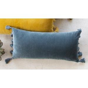 Velvet Lumbar Pillow - Steel Blue