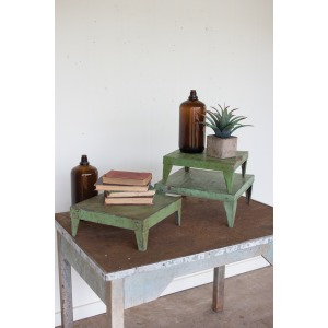 SET OF 3 ANTIQUE GREEN METAL DISPLAY RISERS