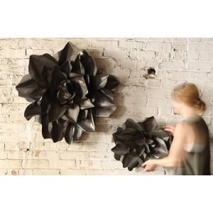 Set of 2 Raw Finish Metal Hanging Wall Flowers