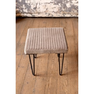Velvet Stool w/Channel Stitch Top & Iron Legs - Cobblestone