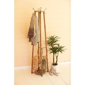 Tall Rattan Coat Rack w/Umbrella Basket