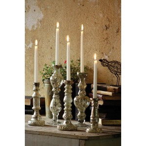 ANTIQUED SILVER GLASS TAPER CANDLE HOLDER 8""