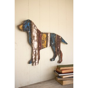 RECLAIMED WOODEN WALL HANGING - DOG