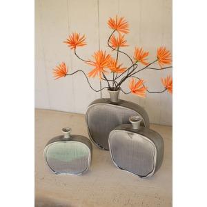 Set of 3 Textured Ceramic Flat Bottles - Grey