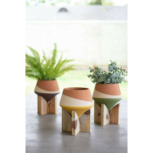 Double Dipped Clay Vases on Wood Bases - Set of 3