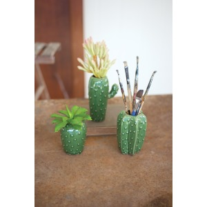 SET OF 3 CACTUS VASES