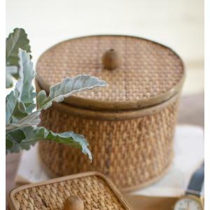 Round Woven Cane Box