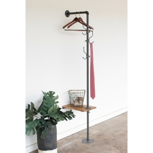 Metal Coat Rack w/Recycled Wooden Slat Side Table