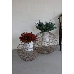 Set of 2 Copper Finish Wire Ball Planters W/White Wash Pots