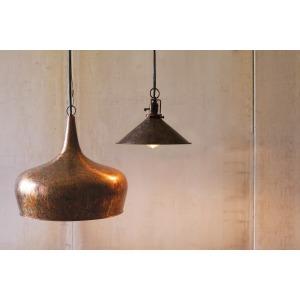 METAL PENDANT LAMP TEAR DROP SHAPE WITH ANTIQUE RUST FINISH