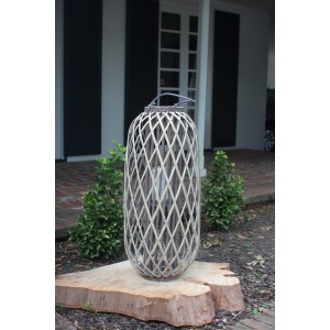 Tall Grey Willow Lantern with Glass - X-Large
