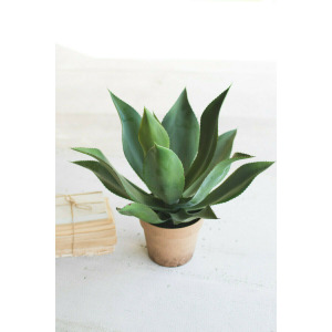 Artificial Agave in a Painted Plastic Pot