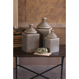 SET OF 3 TEXTURED CERAMIC CANISTERS WITH PYRAMID TOPS - GREY