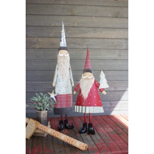 Metal Santas w/Beards - Set of 2
