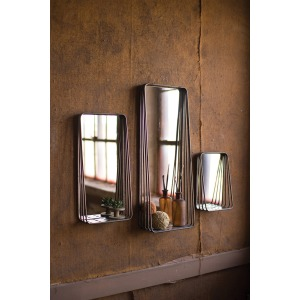 Tall Metal Framed Mirrors w/Shelves - Set of 3