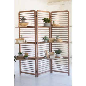 Folding Wooden Screen with Three Shelves