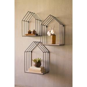 Wood & Metal House Shelves - Set of 3