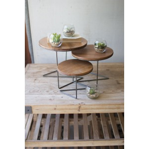 Round Wire Display Risers w/Wood Tops - Set of 3