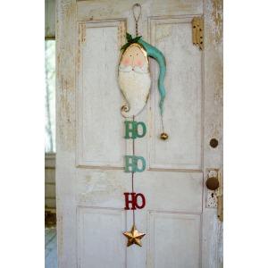Painted Metal Santa w/Bell Door Hanger