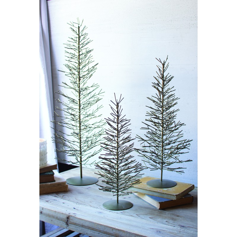 SET OF 3 WIRE TREES - ANTIQUE BRASS
