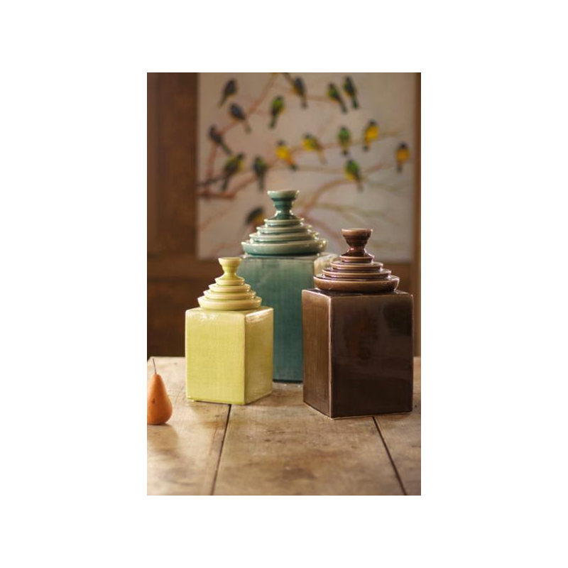 Set of 3 Textured Ceramic Canisters with Pyramid Tops -- Brown, Turquoise, and Lime