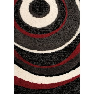 Shaggy Charcoal Red Rug - 6' x 8'