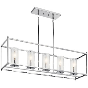 "Crosby 13.75"" 5 Light Linear Chandelier with Clear Glass - Chrome"