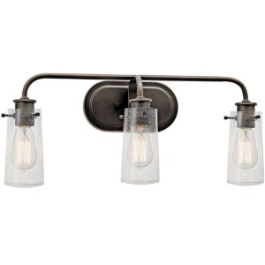 "Braelyn™ 24"" 3 Light Vanity Light with Clear Seeded Glass - Olde Bronze"