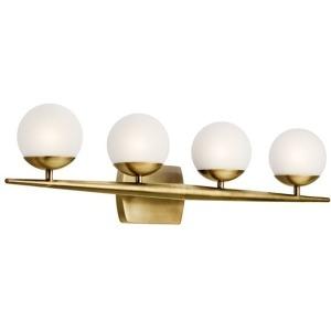 "Jasper 32.25"" 4 Light Halogen Vanity Light with Satin Etched Cased Opal Glass - Natural Brass"