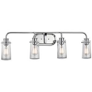 "Braelyn 34"" 4 Light Vanity Light w/Clear Seeded Glass - Chrome"