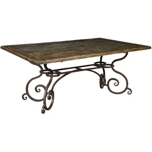 "Artisan\'s Shoppe Dining 72"" Rectangular Dining Table - Metal Base - Black Forest"
