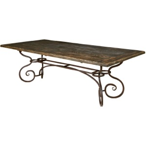 "Artisan\'s Shoppe Dining 94"" Rectangular Dining Table - Metal Base - Black Forest"