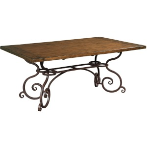 "Artisan\'s Shoppe Dining 72"" Rectangular Dining Table - Metal Base - Tobacco"